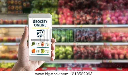 Grocery Shopping At Upermarket Mall Grocery Store Vegetable  Healthy Food Smart Phone Online Superma