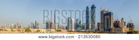 Panoramic view of Dubai's downtown skyline in January of 2016