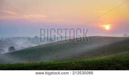 Beautiful sunrise over hills of Central Kentucky