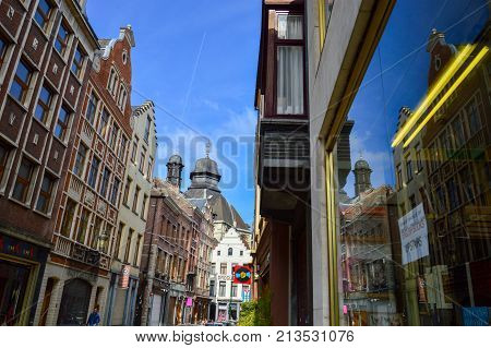 Brussels Belgium - April 2015: Preserved old European-style residential and commercial buildings on streets of Brussels City Belgium