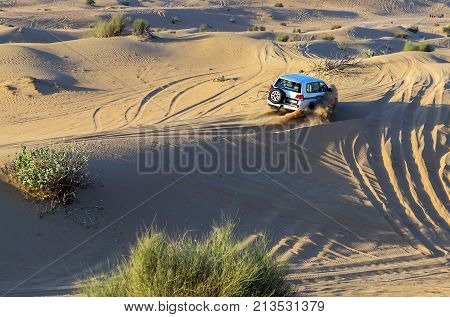 Rally Off-road Car 4X4 Adventure Driving Safari On Sand Dunes On The Desert