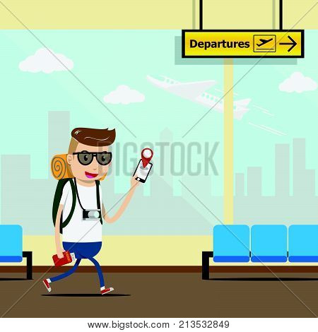 vector. tourist use mobile application for check in at the airport terminal with take off airplane and city building outside window glass for background. mobile technology for traveler concept. EPS10