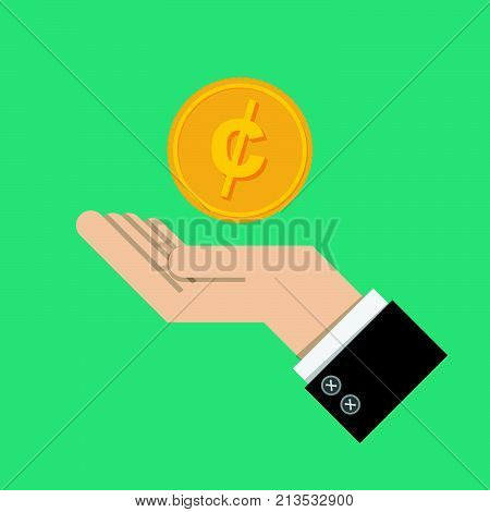 vector illustration. return of an investment. gold coin with sign of Canadian dollars money currency on hand, palm of businessman. invest growth,finance plan, personal management, investment portfolio.