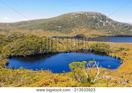 Lake Lilla and Dove Lake photographed from the Wombat Peak in the Cradle Mountain-Lake St Clair National Park - Tasmania, Australia