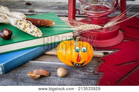 image of corn on the cob lying on a book with a small orange pumpkin and some wheat stalks lying on rustic wood background.