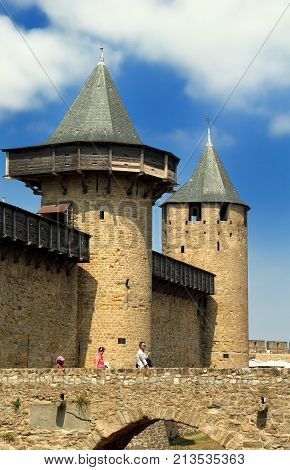 Carcassonne, Languedoc-roussillon, France - August 24 2017: The Chateau Comtal In The Medieval Frenc
