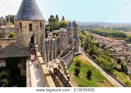 Carcassonne, Languedoc-roussillon, France - August 24 2017: View From The Battlements Of The Medieva