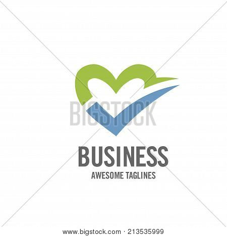 creative simple concept of heart and right sign of love logo , love choice logo vector, heart care logo