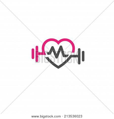 love fit with pulse logo vector, Heart letter M sign, pulse and dumbbell logo, Fitness and heart icon vector, Healthcare sport medical and science symbol, Healthy lifestyle vector logo template