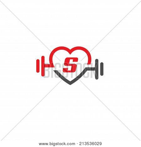 love fit with letter S logo vector, Heart letter S sign, pulse and dumbbell logo, Fitness and heart icon vector, Healthcare sport medical and science symbol, Healthy lifestyle vector logo template