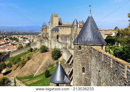 Carcassonne, Languedoc-roussillon, France - August 24 2017: The Medieval French Fortified City Of Ca