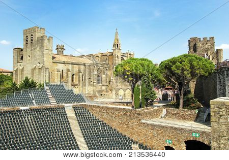 Carcassonne, Languedoc-roussillon, France - August 24 2017: The Amphitheatre In The Medieval French