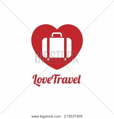 love traveler, Travel bag vector logo icon. love, Sea, summer and holiday symbol. Stock design element