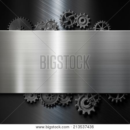 metal plate background with cogs and gears 3d illustration