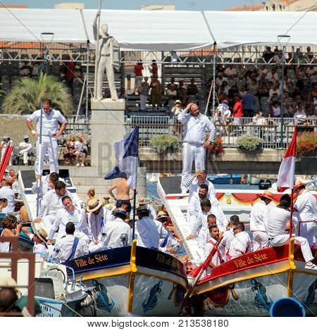 Sete, Herault, France  - Aug 21 2017: Traditional French Water Jousters Preparing To Compete At The