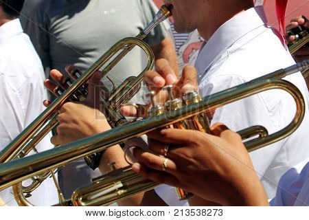 Sete, Herault, France  - Aug 21 2017: Brass Players In The Traditional French Band