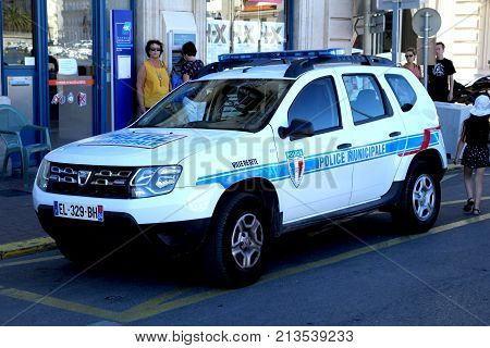 Sete, Herault, France  - Aug 21 2017: Dacia Duster Car In The Livery Of The French City Police