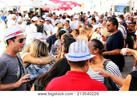 Sete, Herault, France  - Aug 21 2017: Young French People In High Spirits Celebrating The 2017 Festi