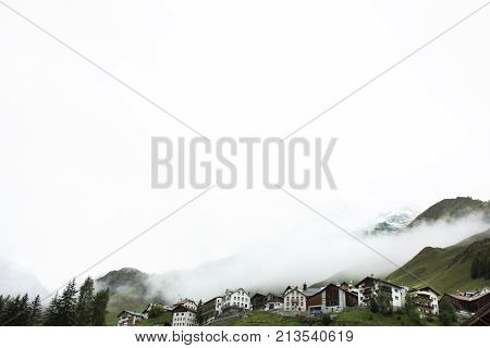 Villages Of Tschlin And Ramosch At Beside Road Between Go To Samnaun In Switzerland