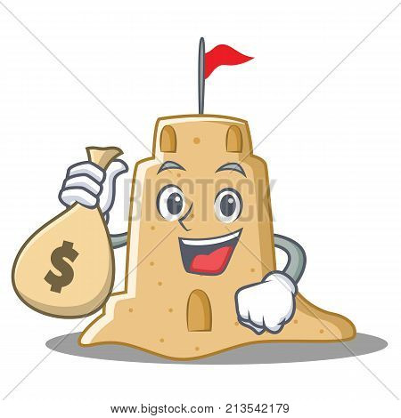With money bag sandcastle character cartoon style vector illustration