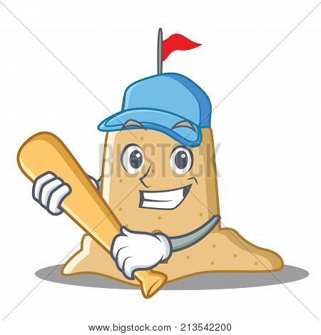 Playing baseball sandcastle character cartoon style vector illustration