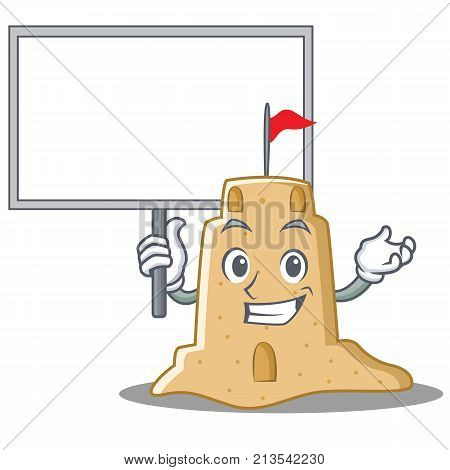 Bring board sandcastle character cartoon style vector illustration