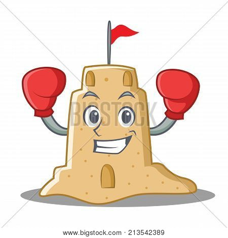 Boxing sandcastle character cartoon style vector illustration