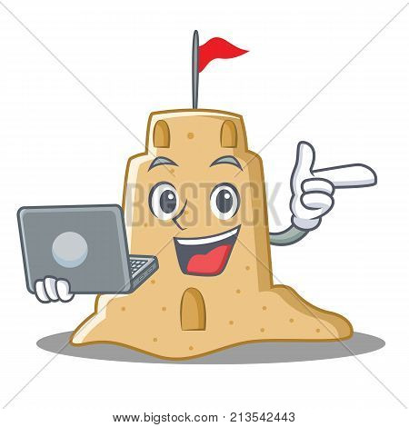 With laptop sandcastle character cartoon style vector illustration