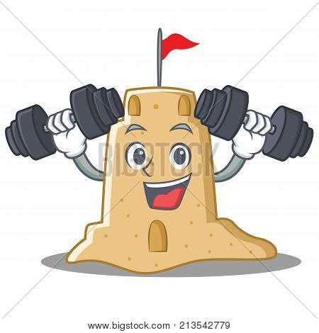 Fitness sandcastle character cartoon style vector illustration