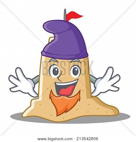 Elf sandcastle character cartoon style vector illustration