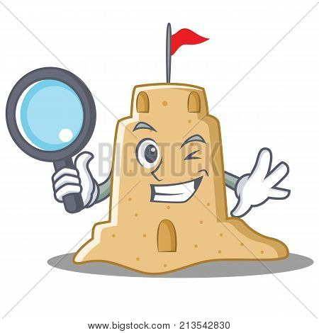 Detective sandcastle character cartoon style vector illustration