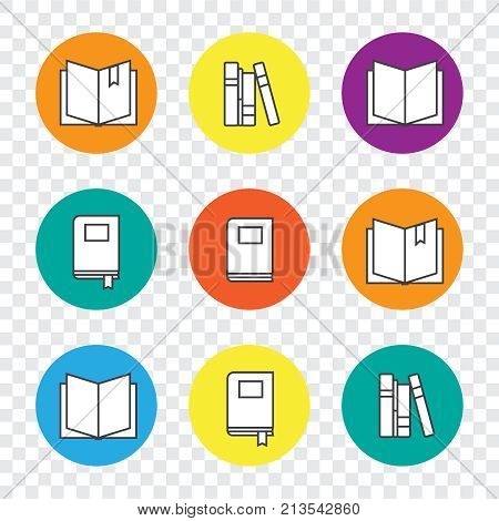 Colorful Education Icons Set With Line Books