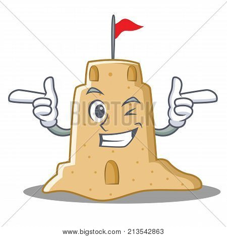 Wink sandcastle character cartoon style vector illustration