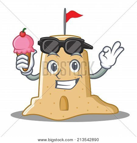 With ice cream sandcastle character cartoon style vector illustration
