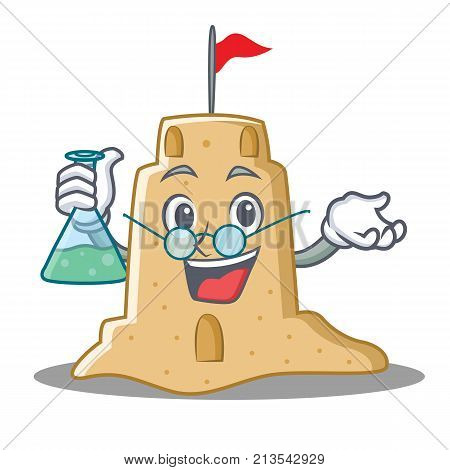 Professor sandcastle character cartoon style vector illustration