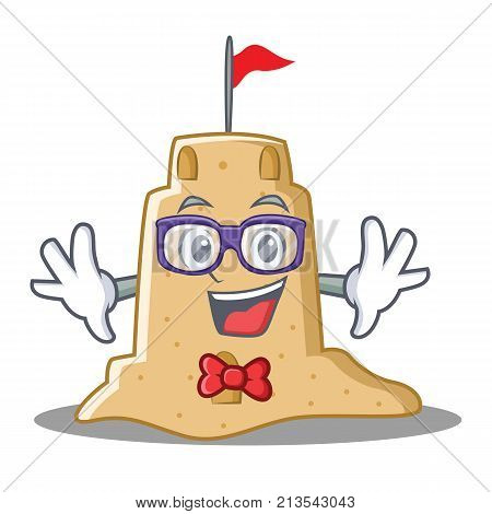 Geek sandcastle character cartoon style vector illustration
