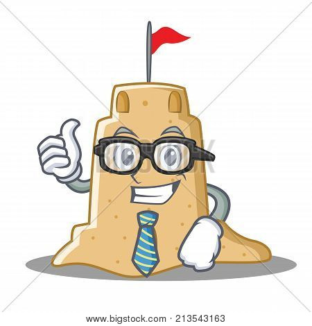 Businessman sandcastle character cartoon style vector illustration