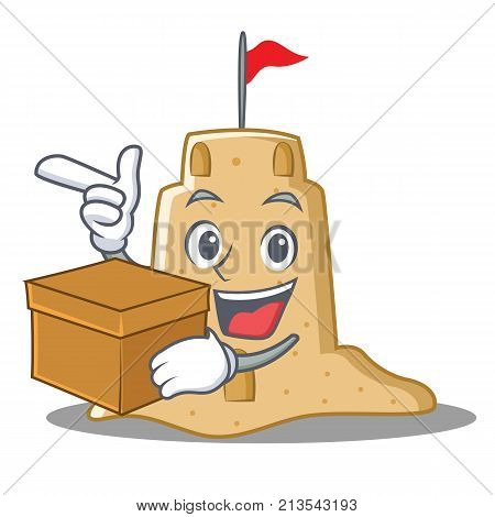 With box sandcastle character cartoon style vector illustration