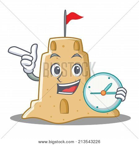 With clock sandcastle character cartoon style vector illustration