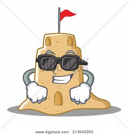 Super cool sandcastle character cartoon style vector illustration