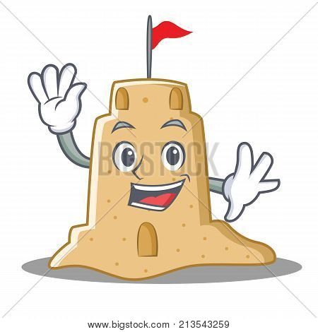 Waving sandcastle character cartoon style vector illustration
