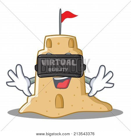 With virtual reality sandcastle character cartoon style vector illustration
