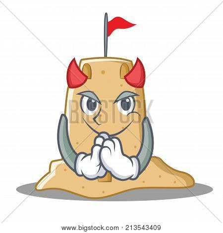 Devil sandcastle character cartoon style vector illustration