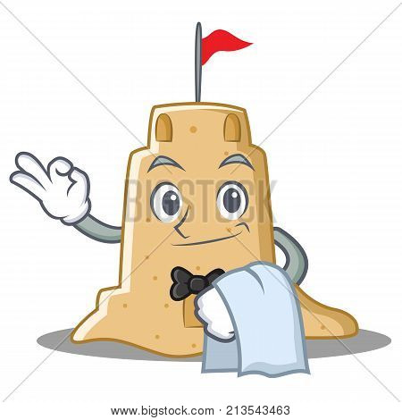 Waiter sandcastle character cartoon style vector illustration