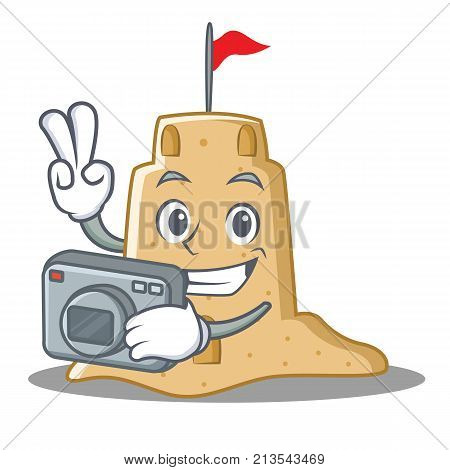 Photographer sandcastle character cartoon style vector illustration