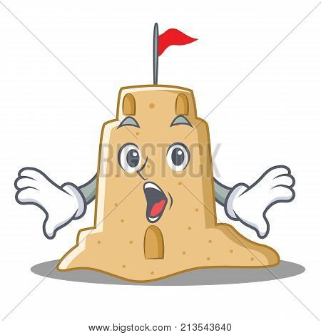 Surprised sandcastle character cartoon style vector illustration