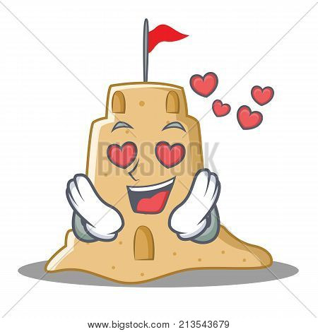 In love sandcastle character cartoon style vector illustration