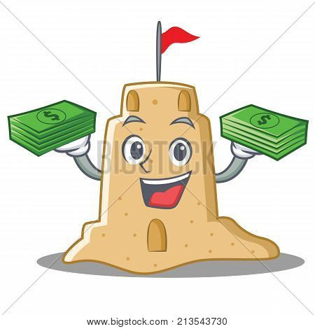 With money sandcastle character cartoon style vector illustration