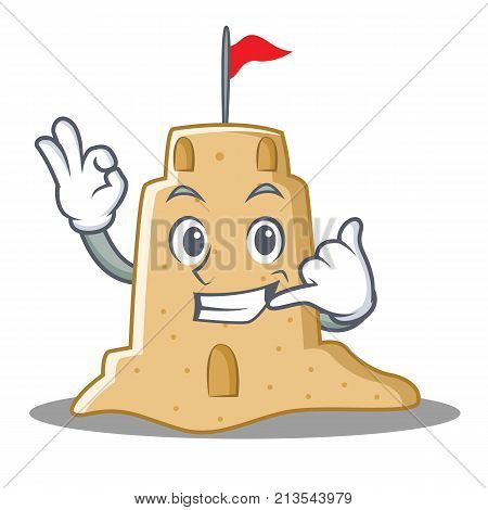 Call me sandcastle character cartoon style vector illustration