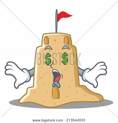 Money eye sandcastle character cartoon style vector illustration